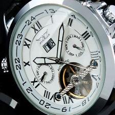 Jaragar Automatic Stainless Steel Case Leather Strap Skeleton Window Watch