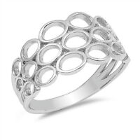 Filigree Oval Cutout Geometric Cute Ring New 925 Sterling Silver Band Sizes 5-10