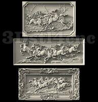 3 3D STL Models Horses Long Panel CNC Router Carving Machine Artcam aspire Cut3D