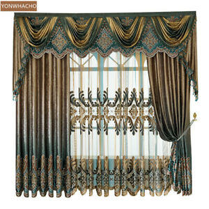 Luxury Thick velvet Flannel coffee cloth blackout curtain valance drape B663