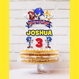 Sonic the Hedgehog Cake Topper Personalised *STURDY* Birthday Party Decorations