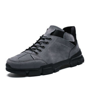 Mens British Style Faux Suede Ankle Riding Boots Leisure Outdoor Workwear Shoes
