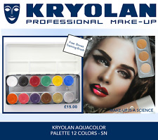 KRYOLAN AQUACOLOR PALETTE 12 SHADES New £15 Inc Silver Gold + Free Brush & Post