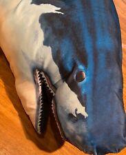 "Tree House Kids Giant Great White Shark Fish Pillow, Deep Blue/White, 48"" x 10"""