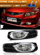 LED + 12-13 Honda Civic Fog Lights 2 DOOR Coupe Clear Lens Bumper Lamps Full Kit