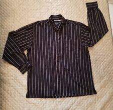 ADOLFO Button Front Dress Shirt Long Sleeve Multi Striped Mens 18/18.5-36/37 2XL