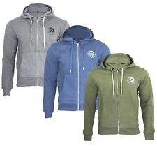 Diesel Brandon Men's Zip Through Hoodie Sweatshirt Tops With Mohican Head Logo