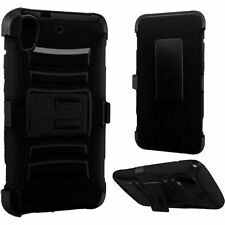 For HTC Desire 626 626S Black Armor Holster Belt Clip Side Stand Hard Cover Case