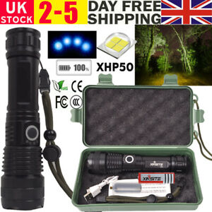 High Power USB Torch XHP50 Zoomable Flashlight LED Rechargeable Bright Lamp UK