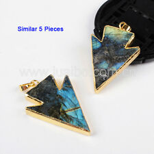 5Pcs Arrowhead Natural Labradorite Pendant With 24K Gold Plated HOT NEW GG0612