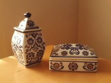 Vintage Oriental Matching Blue/White/Gold Ginger Jar & Trinket Box.