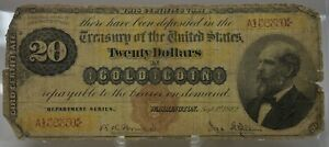 rare 1882 $20 US gold certificate FR 1174 Bruce & Gilfillan brown seal  A156350