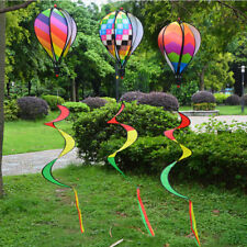 Hot Air Balloon Wind Spinner with Rainbow Stripe Garden Yard Outdoor Decor TH