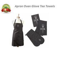 Apron Oven Gloves Tea Towels Kitchen Cookware Textile Chef Set Black Ideal Gift