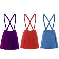 Ladies Womens Pinafore Tartan Brace Dungaree Short Mini Skater Skirt Dress