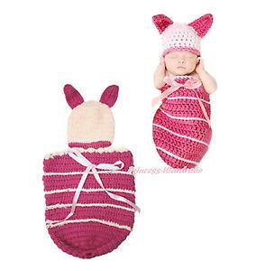 Newborn Baby Photo Prop Costume Light Hot Pink Piglet Crochet Bow Hat Set NB-6M