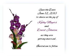 100 Personalized Custom Calla Lily Purple Bridal Wedding Save The Date Cards