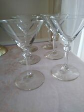 Set of 6 Vintage Clear Martini Glasses with Fluted Stems