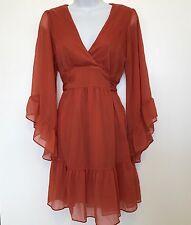 Myth NYC Gypsy Bohemian Boho Rust Orange Red Top Blouse Dress Size Medium Tie