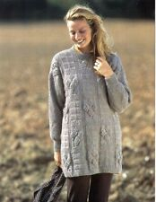 e712f2c14aab8 Ladies Knitting Pattern Copy Long Line Textured Jumper Sweater DK 8 Ply