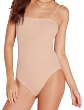 Ladies Knitted Ribbed Square Neck Stretch Camisole Strappy Bodysuit Leotard Top Nude 24-26