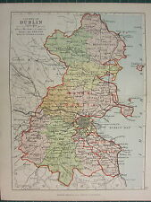 1885 ANTIQUE COUNTY MAP IRELAND ~ DUBLIN ~ COOLOCK BALROTHERY NETHERCROSS