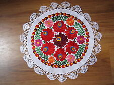 """Hungarian Hand Embroidered Matyo Doily Floral Tablecloth 15"""""""