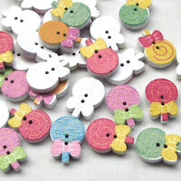 New 10//50//100pcs Wood Buttons Pretty Cats Sewing Craft 2 Holes T0790