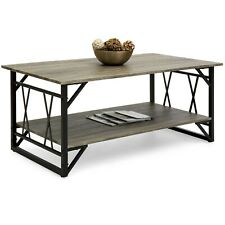Modern Contemporary Wooden Coffee Table for Living Room, Office w/ Open Shelf