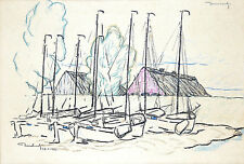 "MAKE AN OFFER SALE Norway Color Drawing KARL DORNBERGER Fishing Boats 9""x12"""