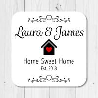 Personalised Home Sweet Home Coaster - New Home, Living Together, Gift Present