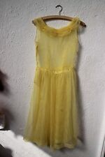 True vintage dress sheer yellow 1980s small evening wedding prom floral fairy