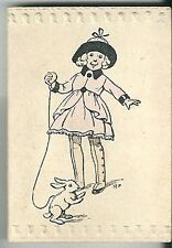 Petit calendrier mini almanach 1923 Illustrateur Fillette lapin rabbit enfant
