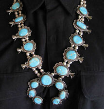 VINTAGE 1960's SW NEW MEXICO SILVER TURQUOISE 17 STONES SQUASH BLOSSOM NECKLACE