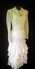 ANN BALON Size 16 18 White & Pink Lace Ladies Designer Vintage Wedding Outfit