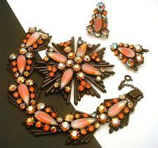 Florenza Bracelet Pin Pendant Earrings Vintage Set Orange Fabulous Sparkle