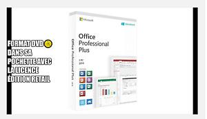 Microsoft Office 2019 Pro Plus DVD + Licence RETAIL pour Windows 10 32/64 Bit