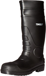Rubber Kneed Boots Agriculture Safe Black Pvc 15-In Mens Size 9 Waterproof
