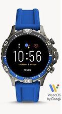Fossil Gen 5 Garrett Stainless Steel Touchscreen Smartwatch Blue Silicone