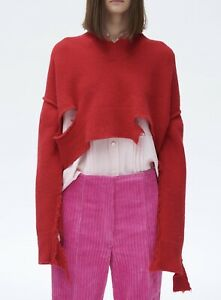 OldCelineArchive *CELINE * V NECK CROPPED SWEATER IN RED RIPPED WOOL (XS) 2017