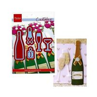 Champagne Bottle and Glasses Metal Die Cut Marianne Cutting Dies Wedding LR0504