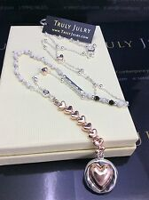 Luxurious Designer Long Beaded Necklace With Silver Rose Gold Heart Pendant