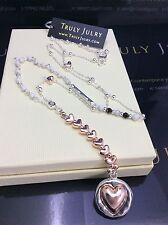 Collar con cuentas de larga señoras del diseñador Plata Corazón Oro Rosa Joyas Regalo UK