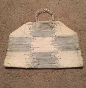 Vintage Handmade Loom Woven Fabric Tote Bag with Round Lucite Handles White/Blue