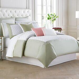 Wedgwood Wild Strawberry Euro Pillow Sham White & Green Cotton & Linen New