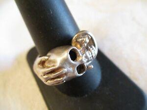 HANDSOME GENT'S Vintage SKULL SNAKE & HAND Sterling Silver RING sz 10