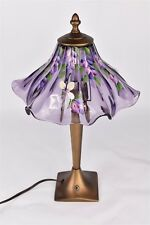 "Fenton Hand Painted Floral Mulberry Fairy Ruffle Table Lamp by J Powell 18"" Tall"