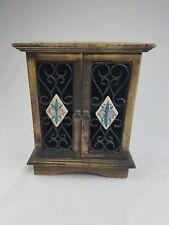 Vtg. rustic wood case storage medicine cabinet organizer wall hanging table top