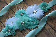 Flower Sash, aqua white Sash , flower Belt, maternity sash, wedding sash