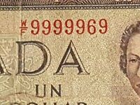 ➡➡S/N W/F 9999969!! Almost SOLID Serial 2 Digit 1954 $1 CANADA NOTE BC-37d